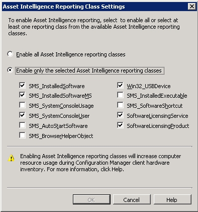 Edit Asset Intelligence Reporting Class Settings window