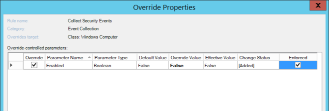 4b - Create override for the Collect Security Events rule