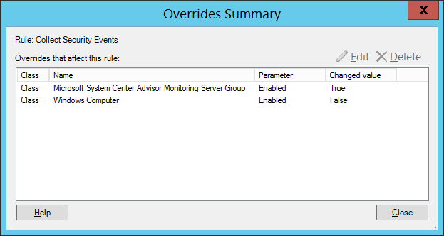 4c - Overrides summary for the Collect Security Events rule